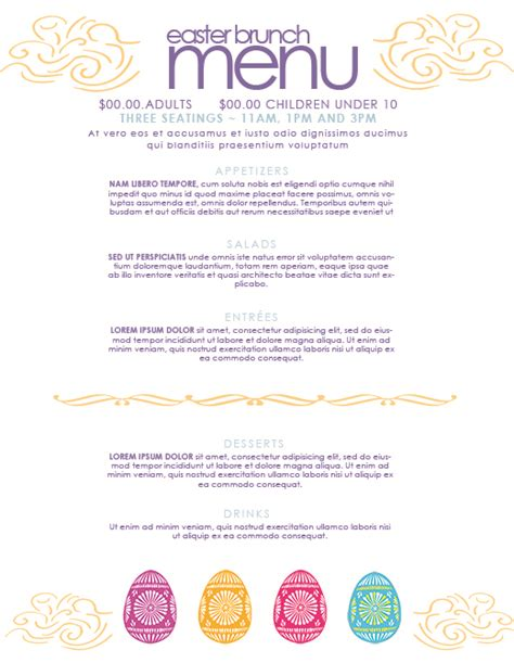 free easter restaurant menu templates for photoshop and