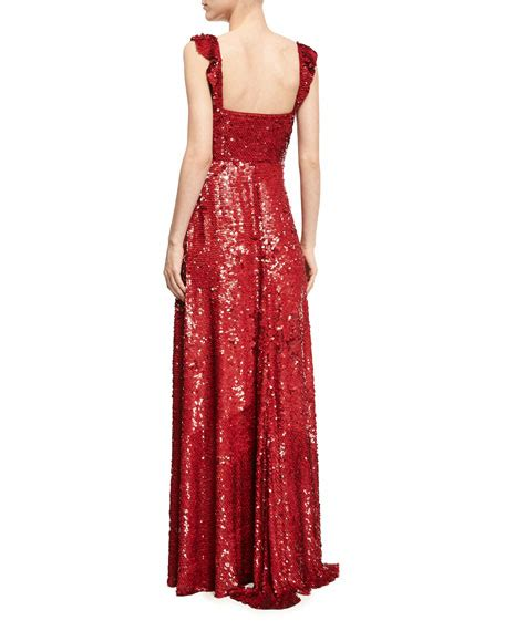 Valentino Sweetheart Bag by Valentino Sleeveless Sequined Silk Sweetheart Gown