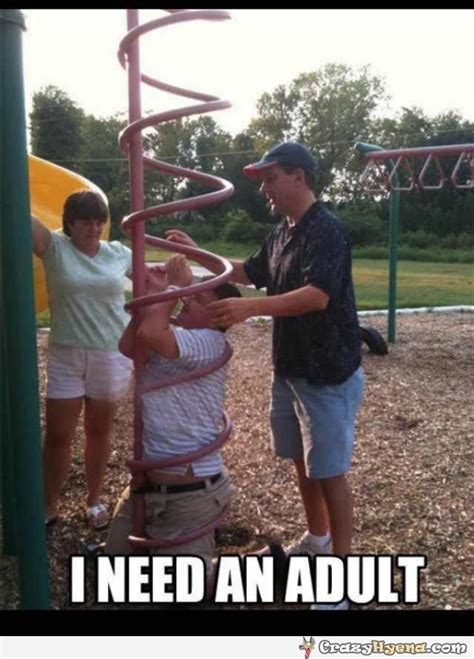 I Need An Adult Meme - stupid fat kid stuck in the playgrpound