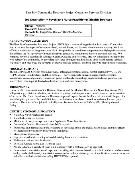 practitioner psychiatric resume sales