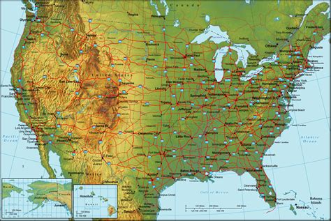 physical map of usa with states maps october 2011