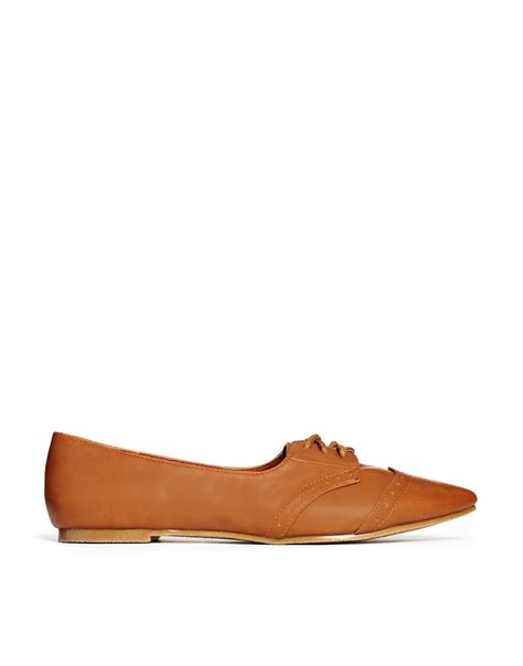 brown flat shoes asos maggie may pointed flat shoes in brown lyst