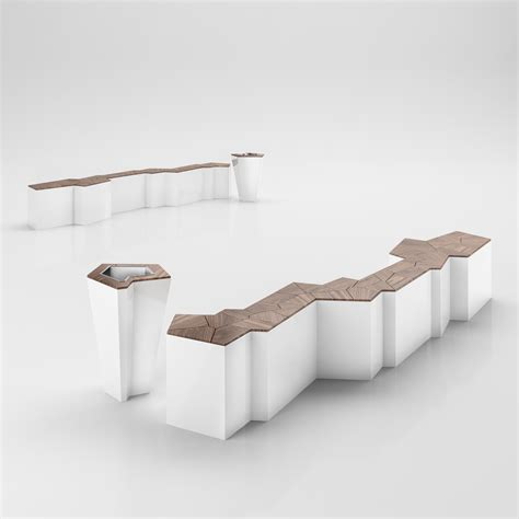 art gallery bench modern art style bench with matched trash bin 3d model