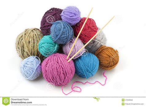 how to add a of yarn when knitting colored balls of yarn with two knitting needles stock