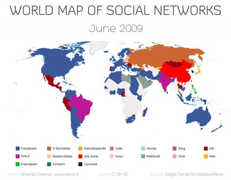 Find On All Social Networking World Map Of Social Networks