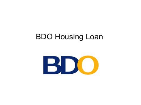 bdo housing loan bdo housing loan in philippines