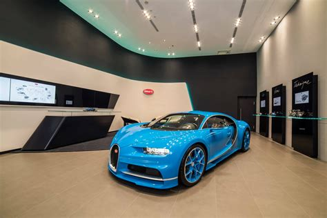 bugatti chiron dealership bugatti launches taiwan showroom with all blue chiron