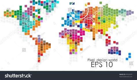 Colorful Interiors Pixel Design World Map Stock Vector 87025979 Shutterstock