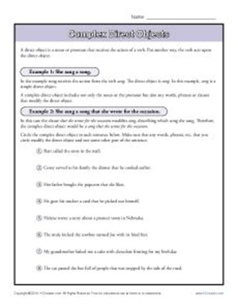 direct object worksheets complex direct object worksheet parts of a sentence worksheets