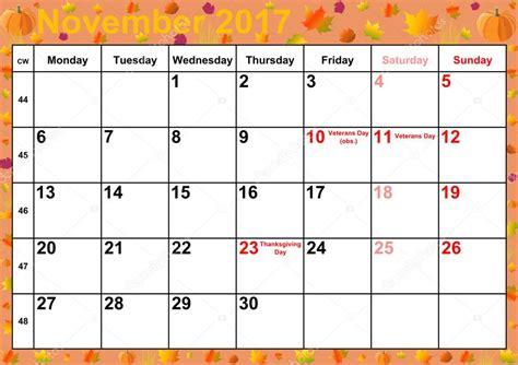calendar 2017 months november for usa stock photo