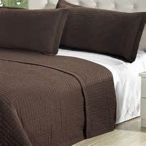 King Bed Coverlet Modern Solid Chocolate Brown Coverlet Quilt Bedding Set