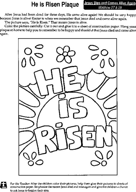 preschool coloring pages about jesus has risen quot he is risen quot coloring page he is risen pinterest
