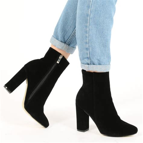Faux Suede High Heel Ankle Boots ankle boots in black faux suede desire