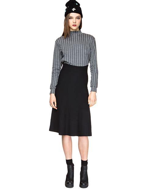 knit midi skirt pixie market black knit high waisted midi skirt in black