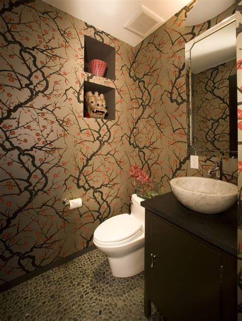 Bathroom With Wallpaper Ideas Splendid Cherry Blossom Wallpaper For Walls Decorating Ideas Gallery In Bathroom Eclectic Design