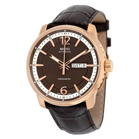 wall watch mido great wall black dial brown leather automatic men s