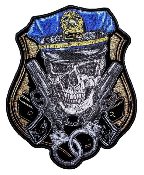 cop skull handcuffs law enforcement embroidered biker