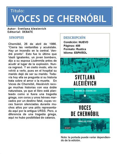 voces de chernobil voces de chern 243 bil svetlana alexievich debate 299 00 en mercado libre