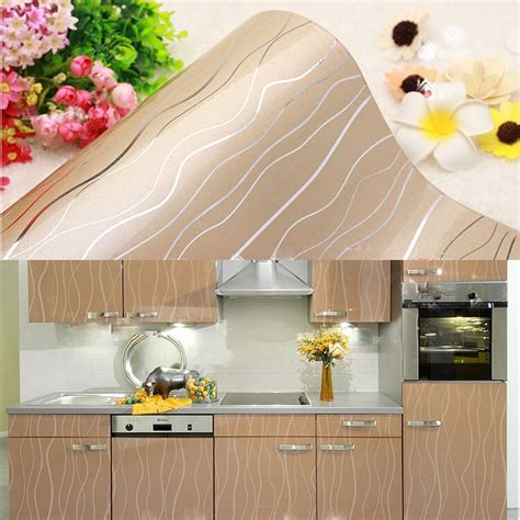 Cabinet Covers For Kitchen Cabinets Yazi Chagne Stripe Contact Paper Vinyl Cupboard Door Self Adhesive Cover Ebay