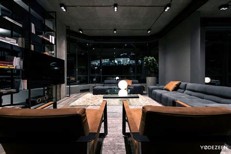 exceptional Wall Designs For Living Room #5: trendy-dark-bachelor-apartment-16.jpg