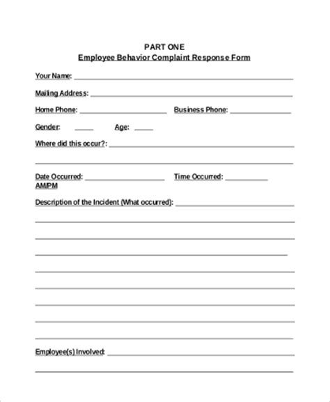 employee complaint template employee complaint form sles 9 free documents in