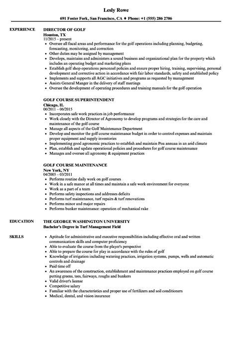Golf Resume by Golf Resume Sles Velvet