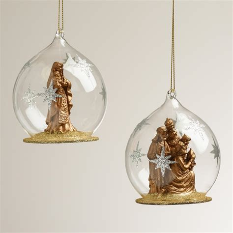 glass nativity cloche ornaments set of 2 world market