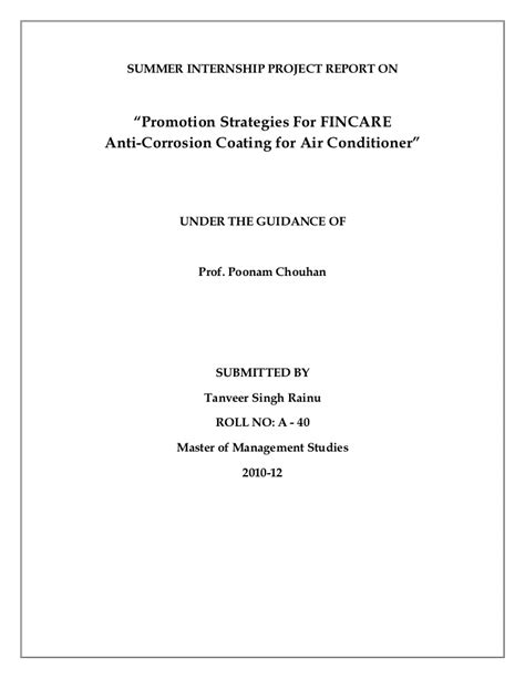 Letter Of Intent Exle Air Promotion Strategies For Fincare Anti Corrosion Coating For Air Condi