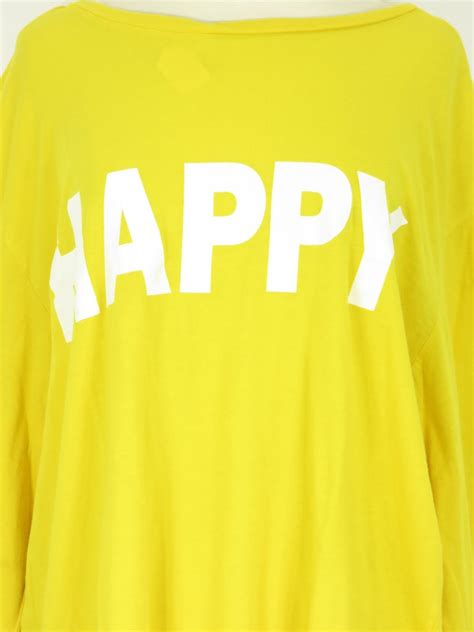 Happy Size Xl 22 peace world yellow white happy sleeve top shirt size x