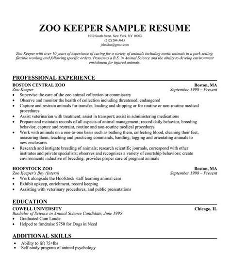 Zoo Worker Sle Resume Zoo Keeper Cv Work Zoos Resume And Sle