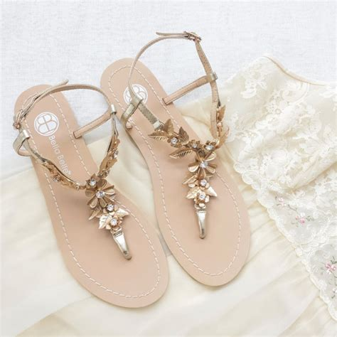 brautschuhe chagner flach bohemian wedding sandals shoes with gold brass leaves and