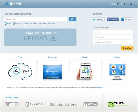 free file hosting online storage upload mp3 videos 4shared review