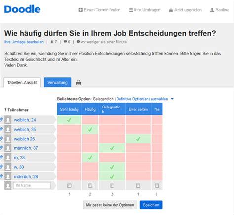 doodle umfrage erstellen f 252 r ihre diplomarbeit die umfrage mit doodle doodle
