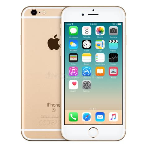 gold apple iphone 6s front view with ios 9 on the screen editorial photography image of brand
