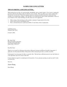 sle cover letter for a that is not advertised decline letter sle employment rejection letter to