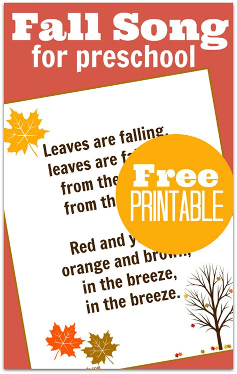 leaves fall down printable book fall song for preschool with free printable lyrics no