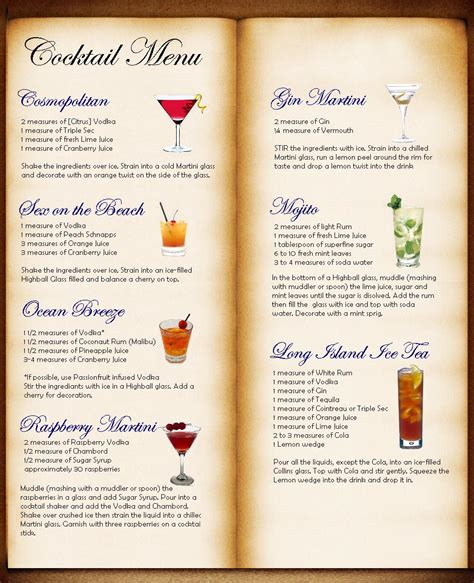 cocktail drinks menu cocktail menu jpg images frompo