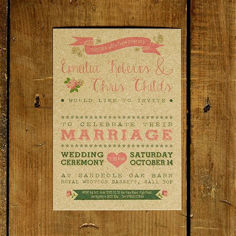 not on the high rustic wedding invitations vintage country kraft wedding invitation by feel wedding invitations notonthehighstreet