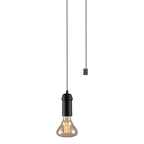 globe light suspension kit globe electric edison 1 light matte black plug in or