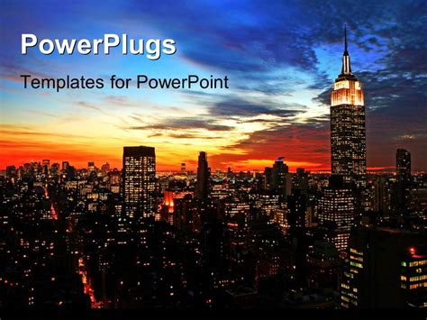 Powerpoint Template New York City Midtown Skyline At Dark Nyu Powerpoint Template