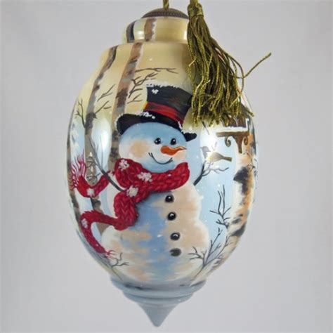 painted glass ornaments birch forest snowman ornament ne qwa painted