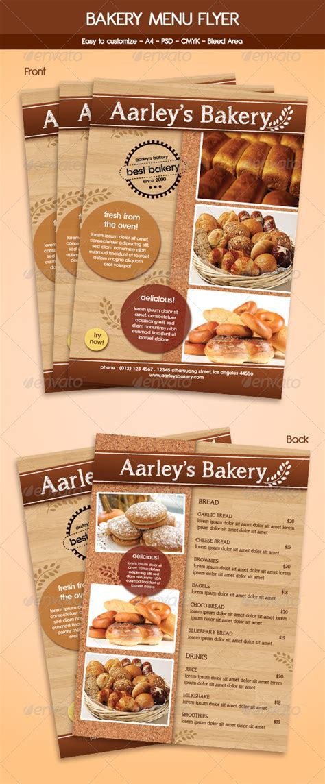 Bakery Menu Flyer Template By Arifpoernomo Graphicriver Bakery Flyer Templates Free