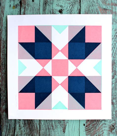geometric quilt patterns printable geometric quilt square screen print pink and blue by