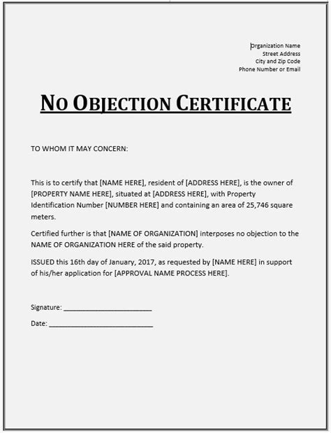 10 free sle no objection certificate templates