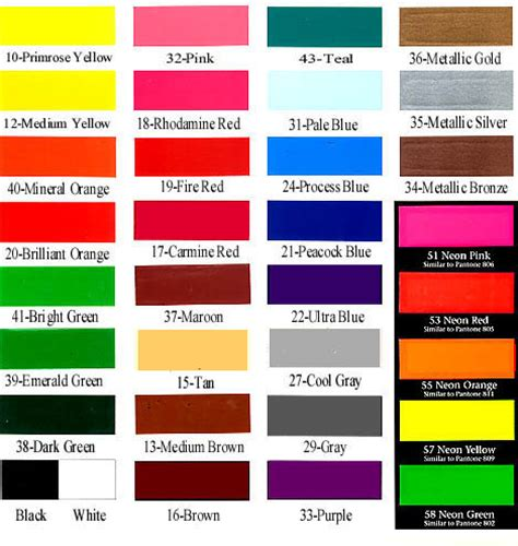 decals sle color chart
