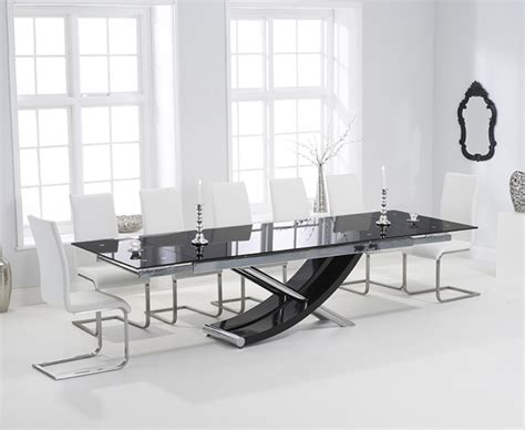 Hton Dining Table 210cm Extending Black Glass Dining Table With Malaga Chairs The Great Furniture Trading