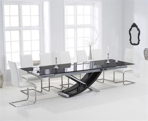 Hilton 210cm Extending Black Glass Dining Table With Black Glass Extending Dining Table