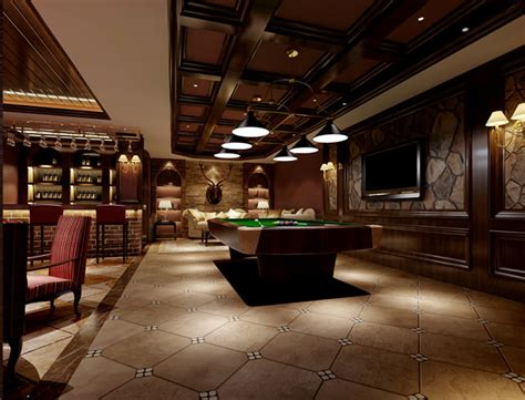 luxurious interior luxurious restaurant interior with pool table 3d model max
