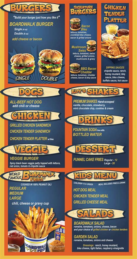 Top Bar Burger Menu by Menu For Boardwalk Fresh Burgers Fries The Shops At