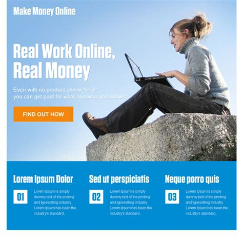 Make Money Online By Clicking - landing page design templates exle to increase conversion